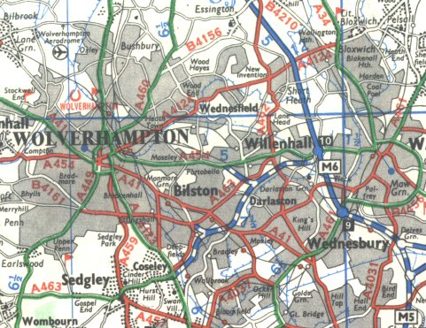 A454 motorway map
